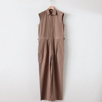 FINX HARD TWIST GABARDINE SLEEVELESS JUMPSUIT #BROWN [A20ST04FB] _ AURALEE | オーラリー