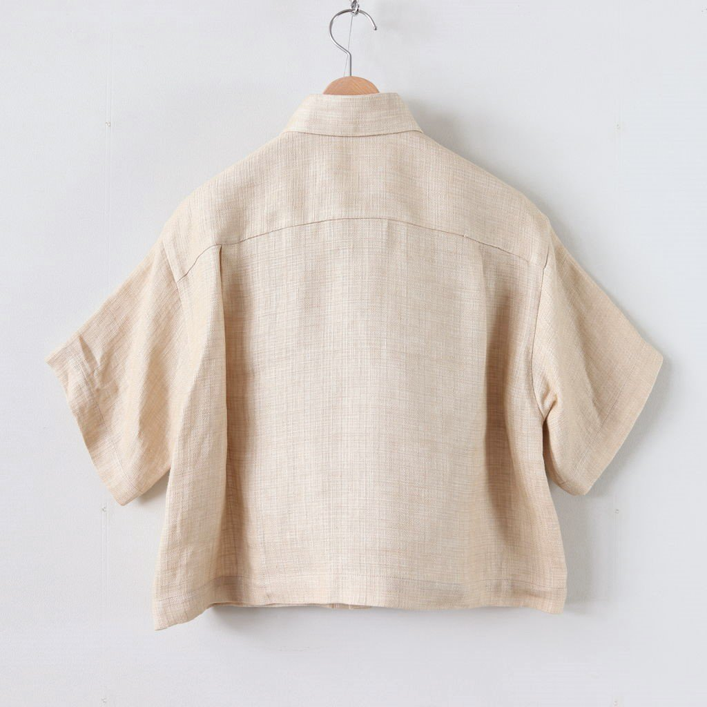 LINEN DOUBLE FACE HALF SLEEVED SHIRTS #LIGHT BEIGE [A20SS04WL]