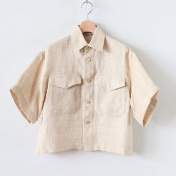 LINEN DOUBLE FACE HALF SLEEVED SHIRTS #LIGHT BEIGE [A20SS04WL] _ AURALEE | オーラリー