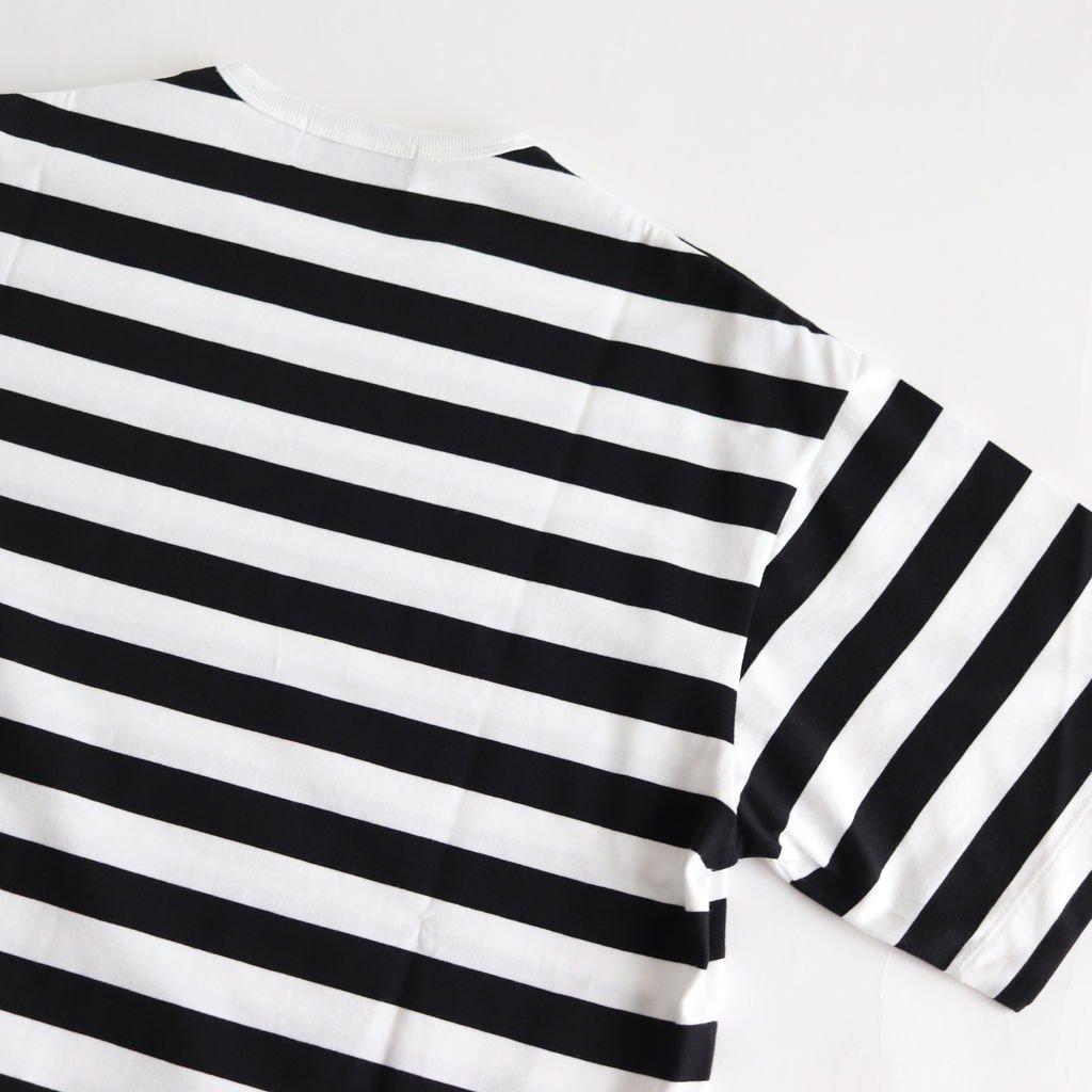 BORDER S/S SLIT TEE #WHITE BLACK [GL201-70145B]