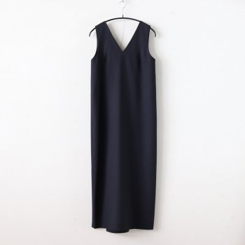 WOOL CARAMEL PIQUET BACK DRAPED DRESS #NAVY [OPAGBM0302] _ ATON | エイトン