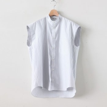 WASHED FINX TWILL STRIPE SLEEVELESS SHIRTS #WIDE STRIPE [A20SS04TS] _ AURALEE | オーラリー