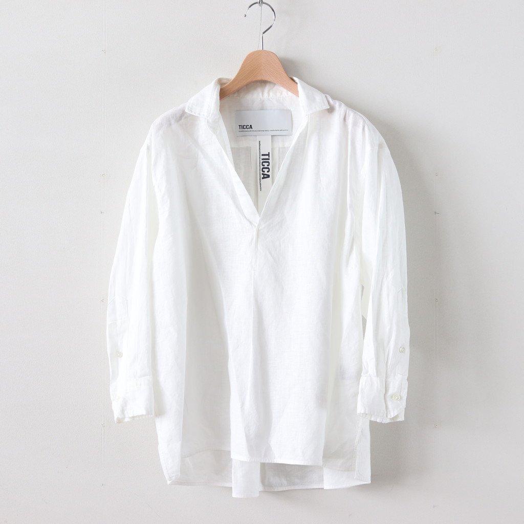 9分袖スキッパーシャツ #WHITE [TBKS-606]