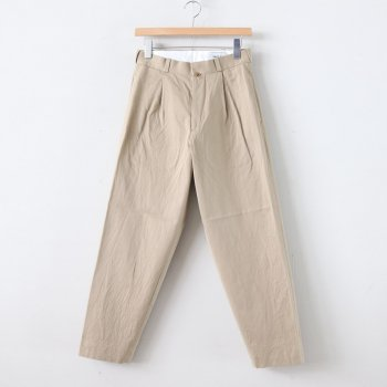 CHINO CLOTH PANTS TUCK TAPERED #KHAKI [60603] _ YAECA | ヤエカ