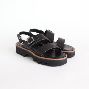 LEATHER BELT SANDALS MADE BY FOOT THE COACHER #BLACK [A20SS02FC] _ AURALEE | オーラリー