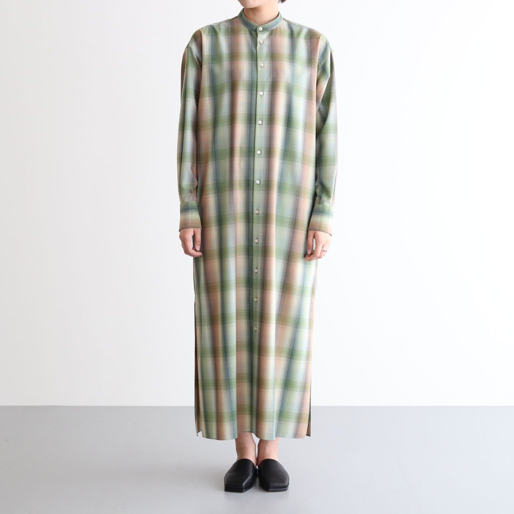 <img class='new_mark_img1' src='https://img.shop-pro.jp/img/new/icons1.gif' style='border:none;display:inline;margin:0px;padding:0px;width:auto;' />SUPER LIGHT WOOL CHECK MAXI ONE-PIECE #GREEN CHECK [A20AD02LC]