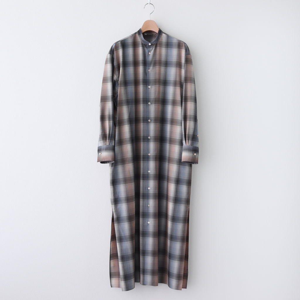 SUPER LIGHT WOOL CHECK MAXI ONE-PIECE #BLUE CHECK [A20AD02LC]
