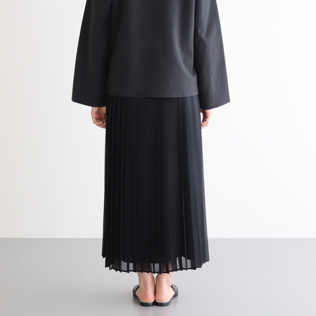 <img class='new_mark_img1' src='https://img.shop-pro.jp/img/new/icons1.gif' style='border:none;display:inline;margin:0px;padding:0px;width:auto;' />WOOL RECYCLE POLYESTER SHEER CLOTH PLEATED SKIRT #BLACK [A20AS03RM]