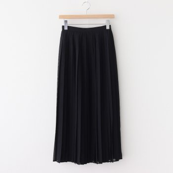 WOOL RECYCLE POLYESTER SHEER CLOTH PLEATED SKIRT #BLACK [A20AS03RM] _ AURALEE | オーラリー