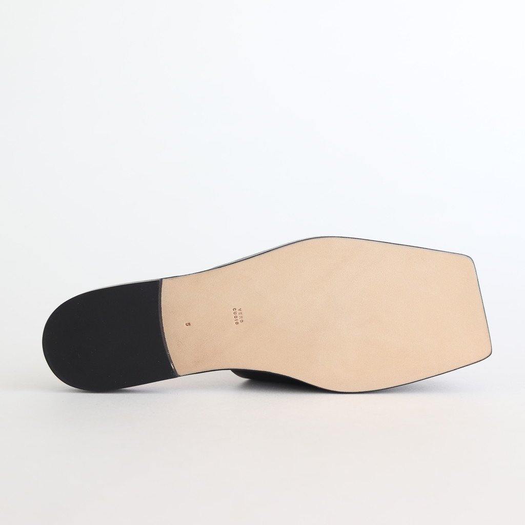 LEATHER SQUARE SANDALS MADE BY FOOT THE COACHER #BLACK [A20AS04FT]