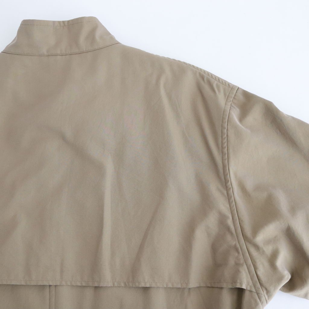 WASHED FINX CUPRO TWILL LONG COAT #KHAKI CHAMBRAY [A20AC01FC]