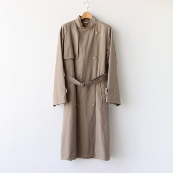 WASHED FINX CUPRO TWILL LONG COAT #KHAKI CHAMBRAY [A20AC01FC] _ AURALEE | オーラリー