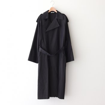 WASHED FINX CUPRO TWILL LONG COAT #BLACK CHAMBRAY [A20AC02FC] _ AURALEE | オーラリー