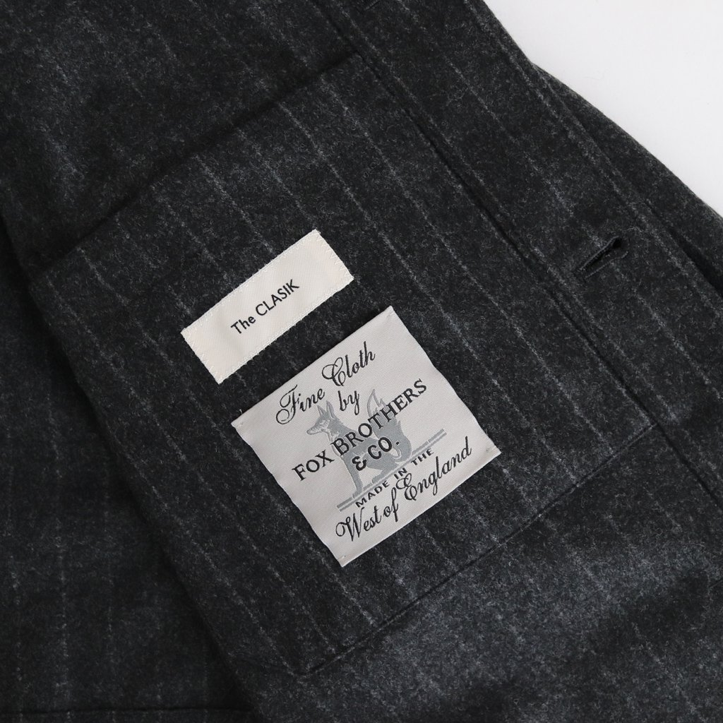 <img class='new_mark_img1' src='https://img.shop-pro.jp/img/new/icons1.gif' style='border:none;display:inline;margin:0px;padding:0px;width:auto;' />RAILWAY JACKET WOOL - FOX BROTHERS CHALK STRIPE FLANNEL #CHARCOAL [20AW-CKJK-007]