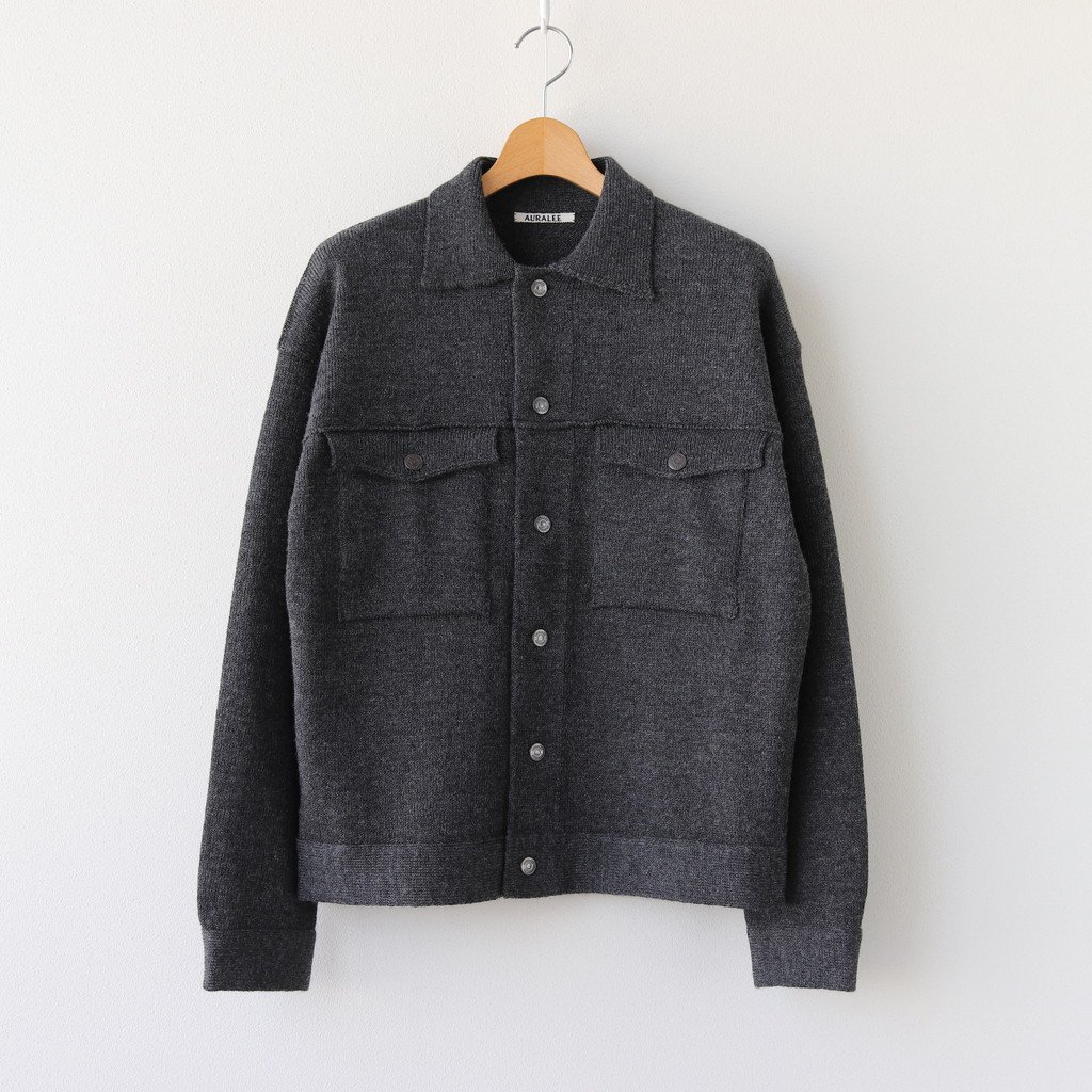 WOOL FINE SPINNING HEAVY KNIT BLOUSON #TOP CHARCOAL [A20AB01RW]