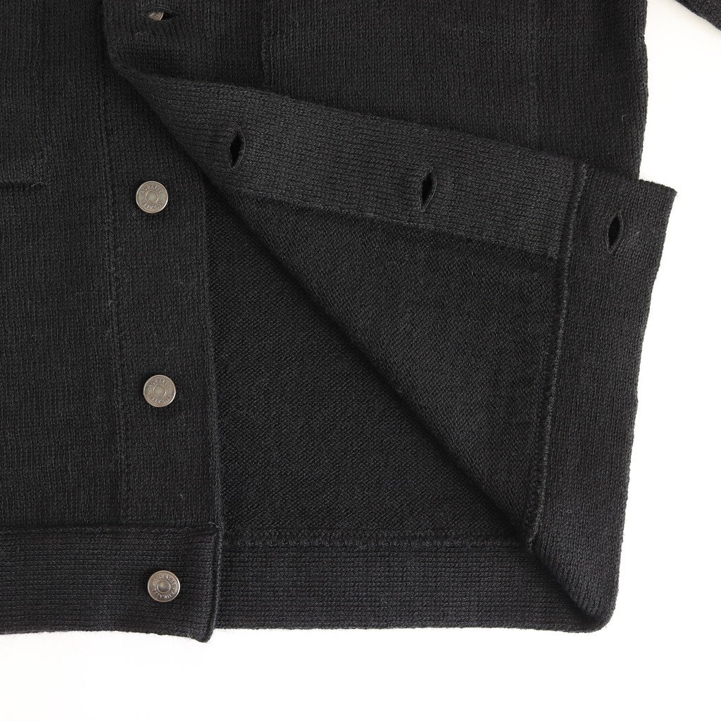 <img class='new_mark_img1' src='https://img.shop-pro.jp/img/new/icons1.gif' style='border:none;display:inline;margin:0px;padding:0px;width:auto;' />WOOL FINE SPINNING HEAVY KNIT BLOUSON #BLACK [A20AB03RW]