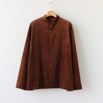 SUVIN CORDUROY STAND COLLAR SHIRT JACKET #BROWN [JKAGBW0805] _ ATON | エイトン