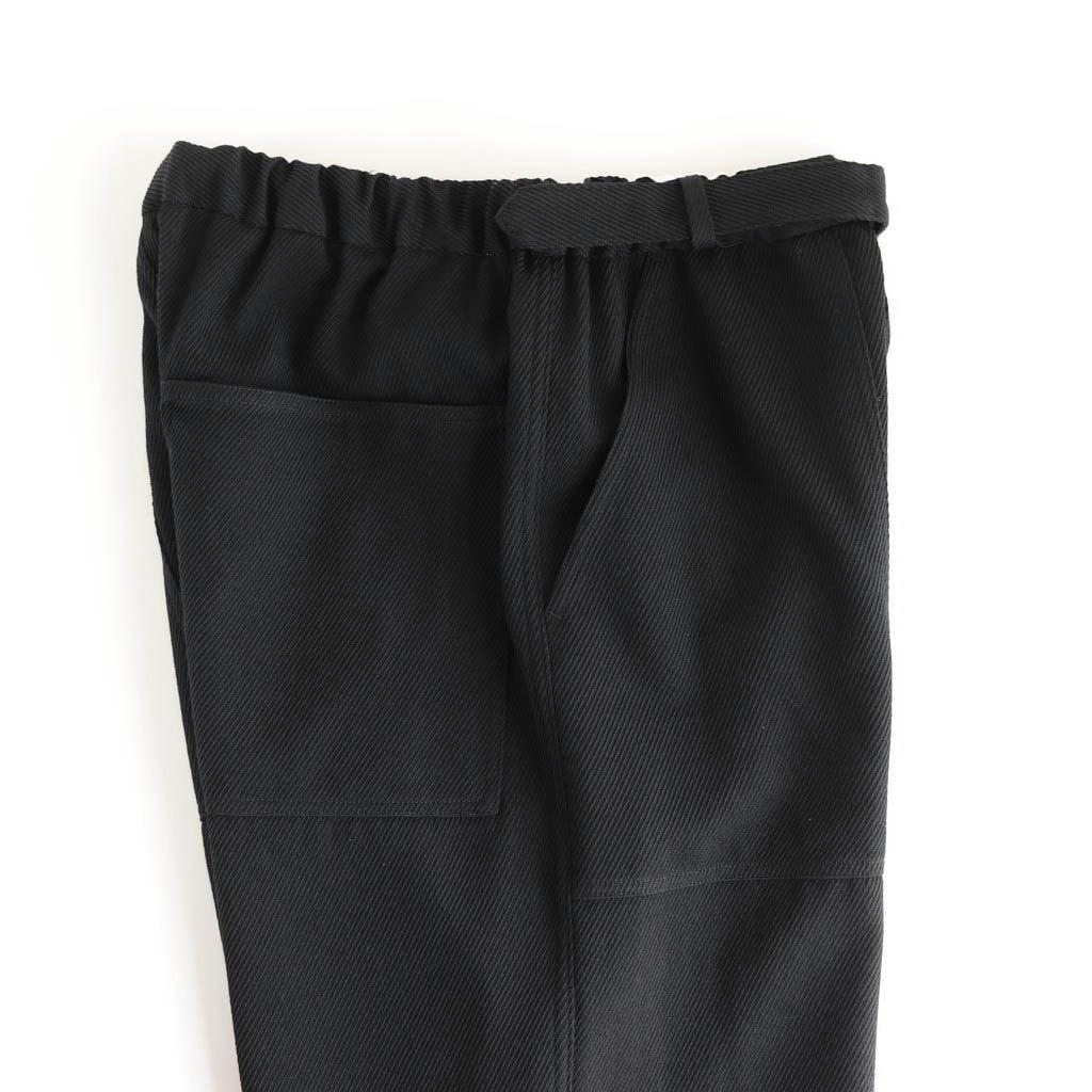 WOOL KERSEY BELTED BAKER PANTS #BLACK [GM203-40053]