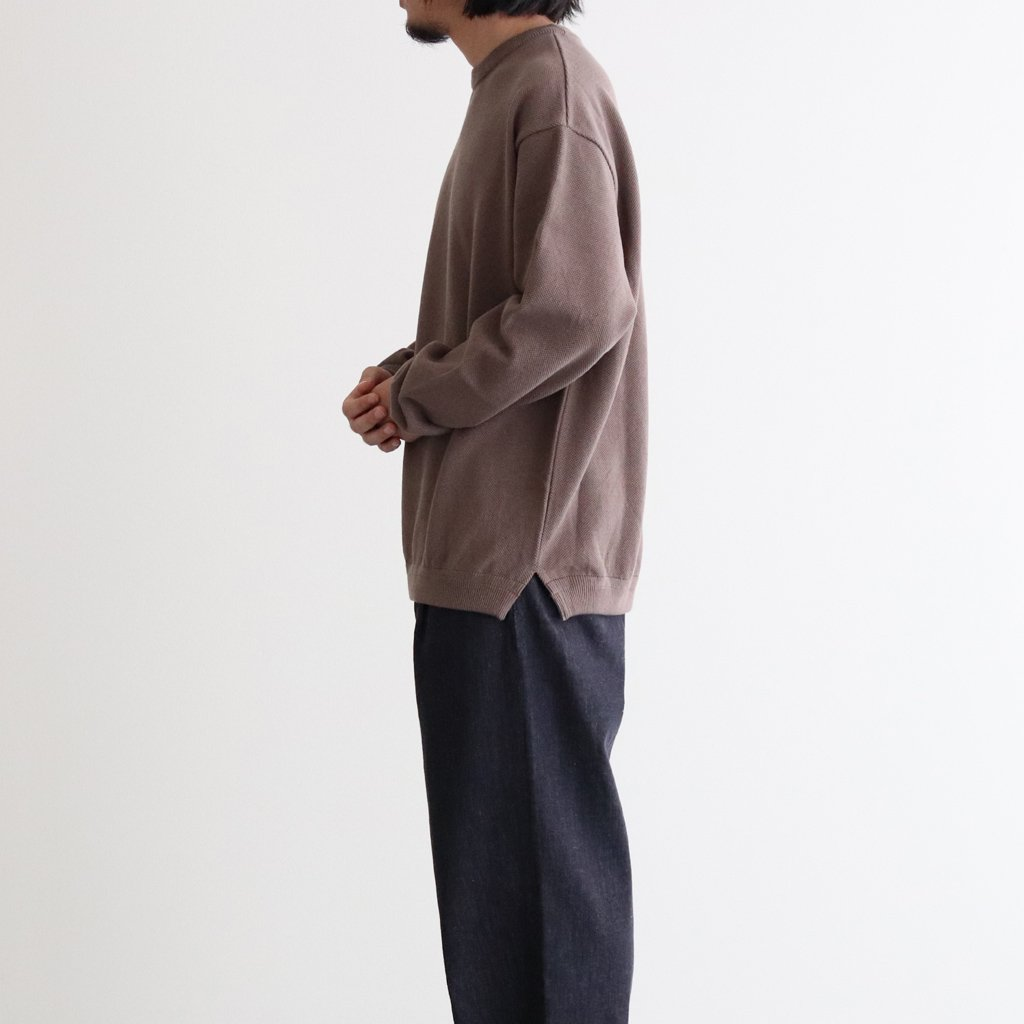 MOSS STITCH CREW SLIT #BROWN [2003-003]