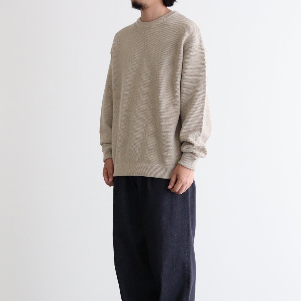 <img class='new_mark_img1' src='https://img.shop-pro.jp/img/new/icons1.gif' style='border:none;display:inline;margin:0px;padding:0px;width:auto;' />MOSS STITCH L/S SWEAT #BEIGE [2003-001]