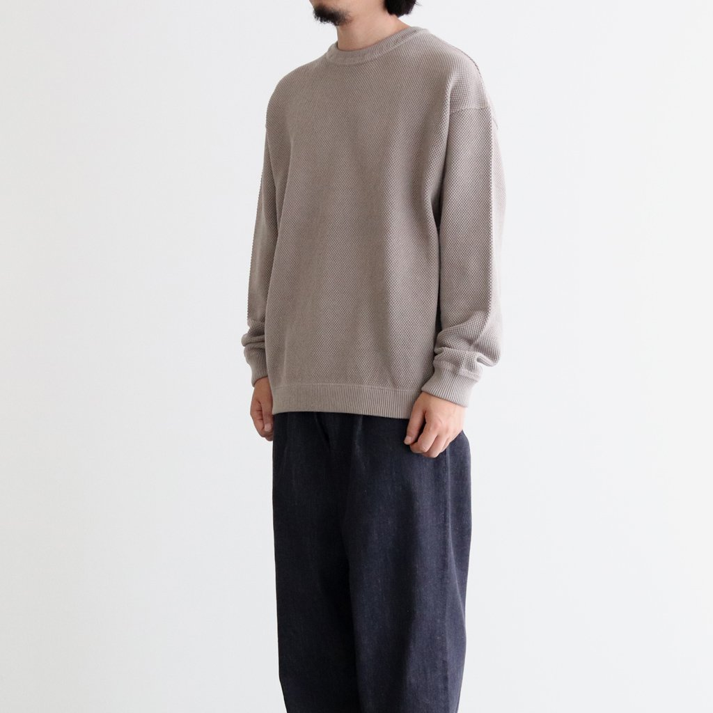 <img class='new_mark_img1' src='https://img.shop-pro.jp/img/new/icons1.gif' style='border:none;display:inline;margin:0px;padding:0px;width:auto;' />MOSS STITCH L/S SWEAT #GRAY [2003-001]