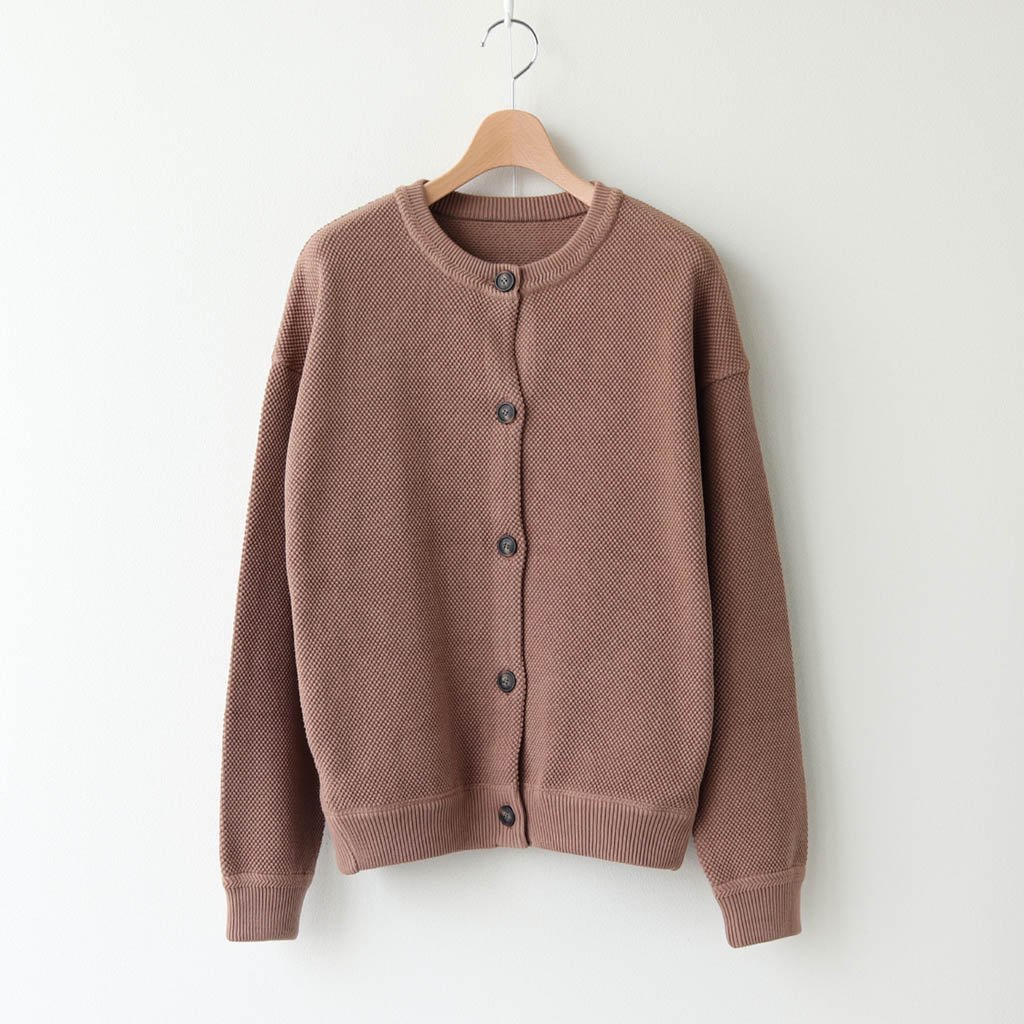 <img class='new_mark_img1' src='https://img.shop-pro.jp/img/new/icons1.gif' style='border:none;display:inline;margin:0px;padding:0px;width:auto;' />MOSS STITCH CREW CARDIGAN #L.BROWN [2003-002W]