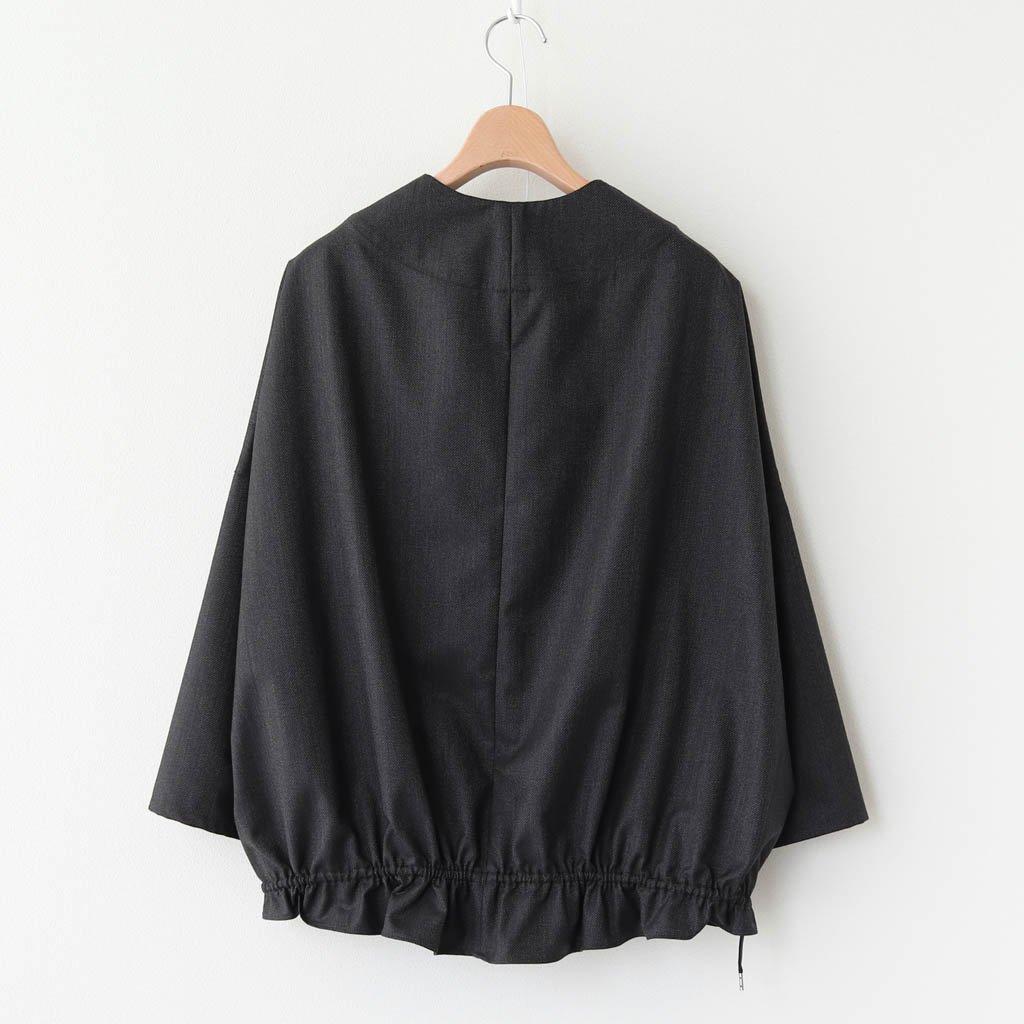 NOOBL ウールポリエステルストレッチカルゼ カラーレスシャツブルゾン #GREY&BLACK [A0_NC121BN]