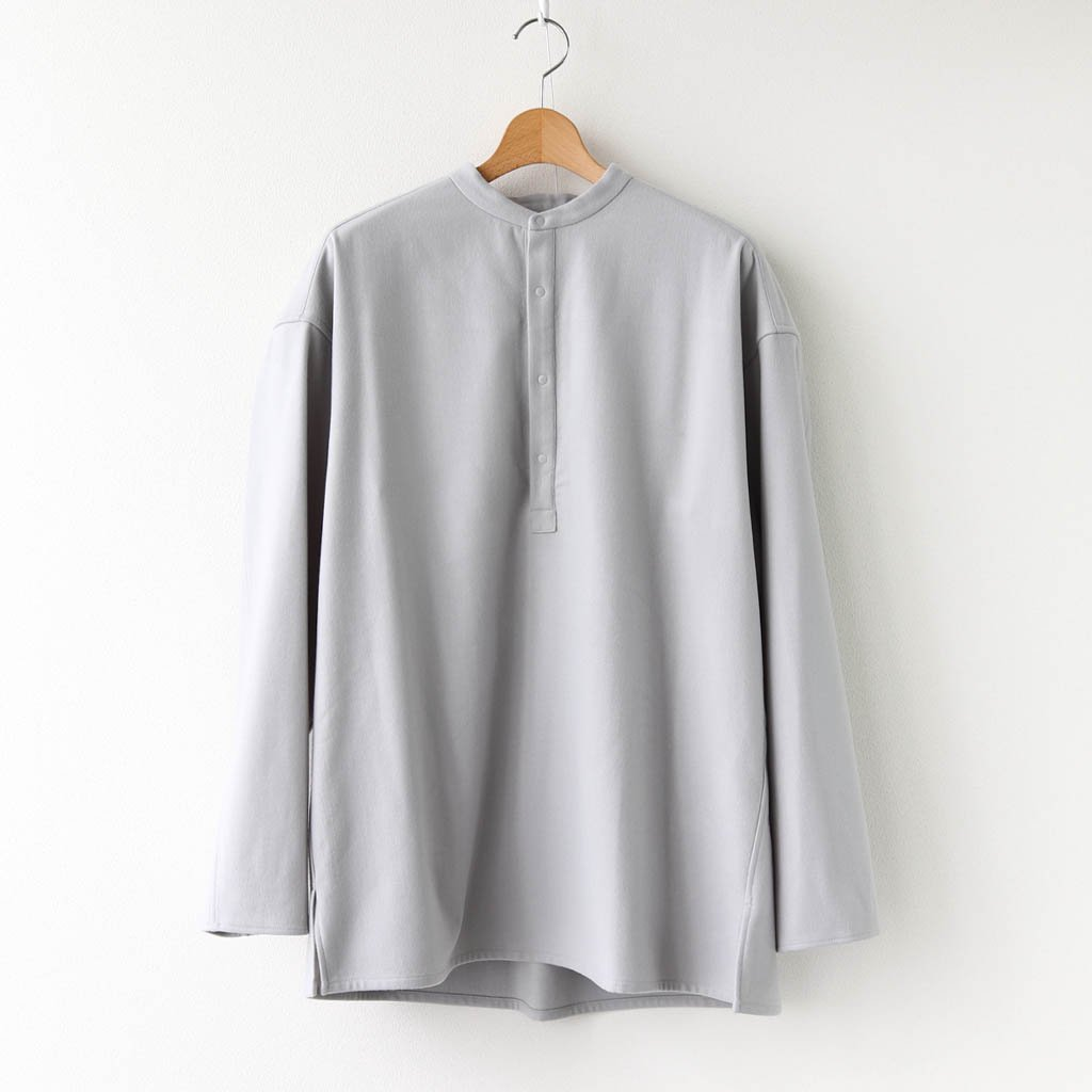 <img class='new_mark_img1' src='https://img.shop-pro.jp/img/new/icons1.gif' style='border:none;display:inline;margin:0px;padding:0px;width:auto;' />WOOL FLANNEL BAND COLLAR SHIRT #L.GRAY [GM203-50091]