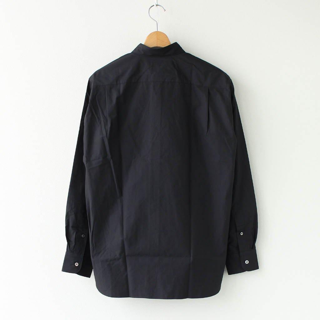 綿ブロード 太番手ステッチ加工 L/Sシャツ #BLACK [HF-B016-051]
