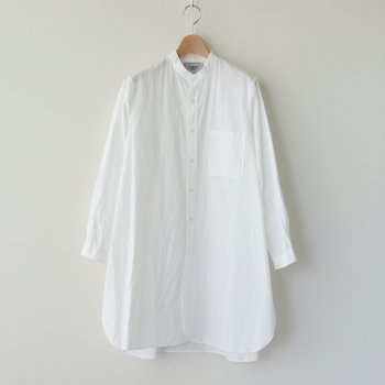BUTTON SHIRT STAND COLLAR P/O LONG #WHITE [90160] _ YAECA | ヤエカ