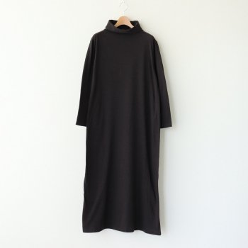 TURTLE NECK WRAP DRESS #CHARCOAL [00751] _ YAECA   ヤエカ