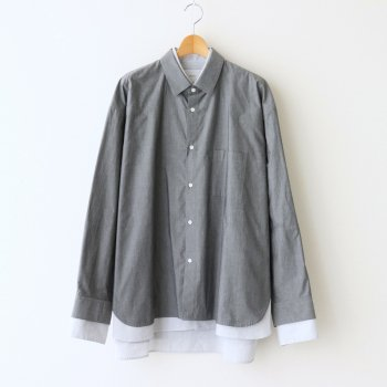OVERSIZED 4LAYERED SHIRT #CHARCOAL×STRIPE [ST.236] _ stein | シュタイン