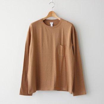 丸胴 CREW NECK T-SHIRT POCKET L/S #BROWN [30059] _ YAECA | ヤエカ