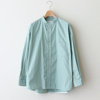 ノーカラースクエアビッグシャツ #GREEN STRIPE [TBAS-123] _ TICCA | ティッカ
