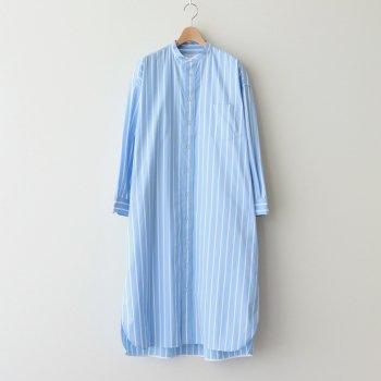 ノーカラースクエアビッグロングシャツ #BLUE STRIPE [TBAS-127] _ TICCA | ティッカ