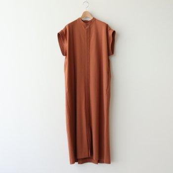 14/- SUVIN AIR SPINNING BAND COLLAR DRESS #CAMEL [OPAGIM0200] _ ATON | エイトン