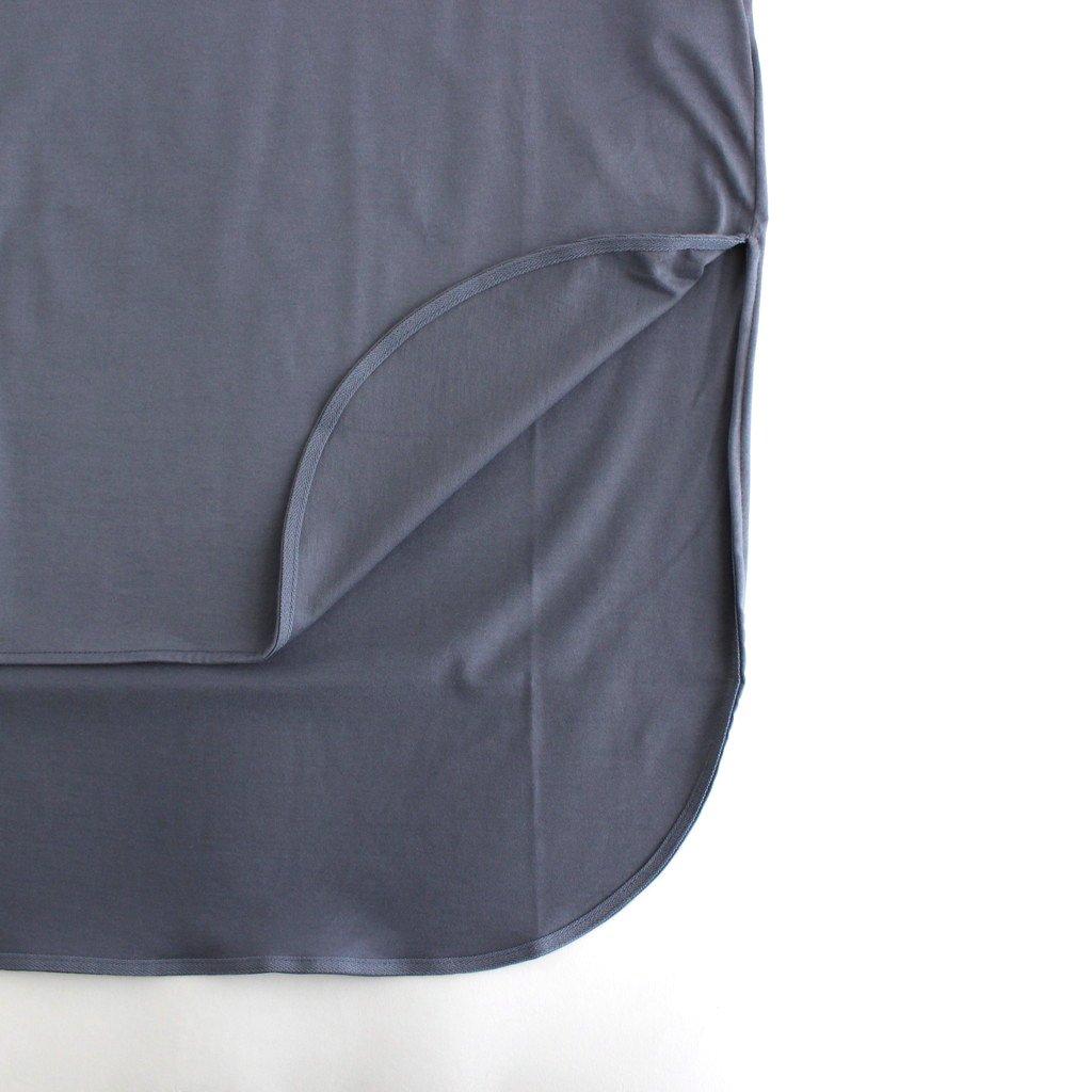 SUVIN 60/2 ROUNDED HEM T-SHIRT #BLUE GRAY [KKAGIM0016]
