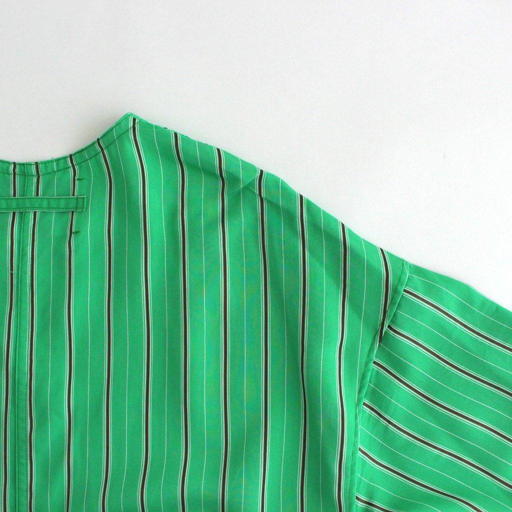 キーネックロングドレス #GREEN STRIPE [TBAS-424]