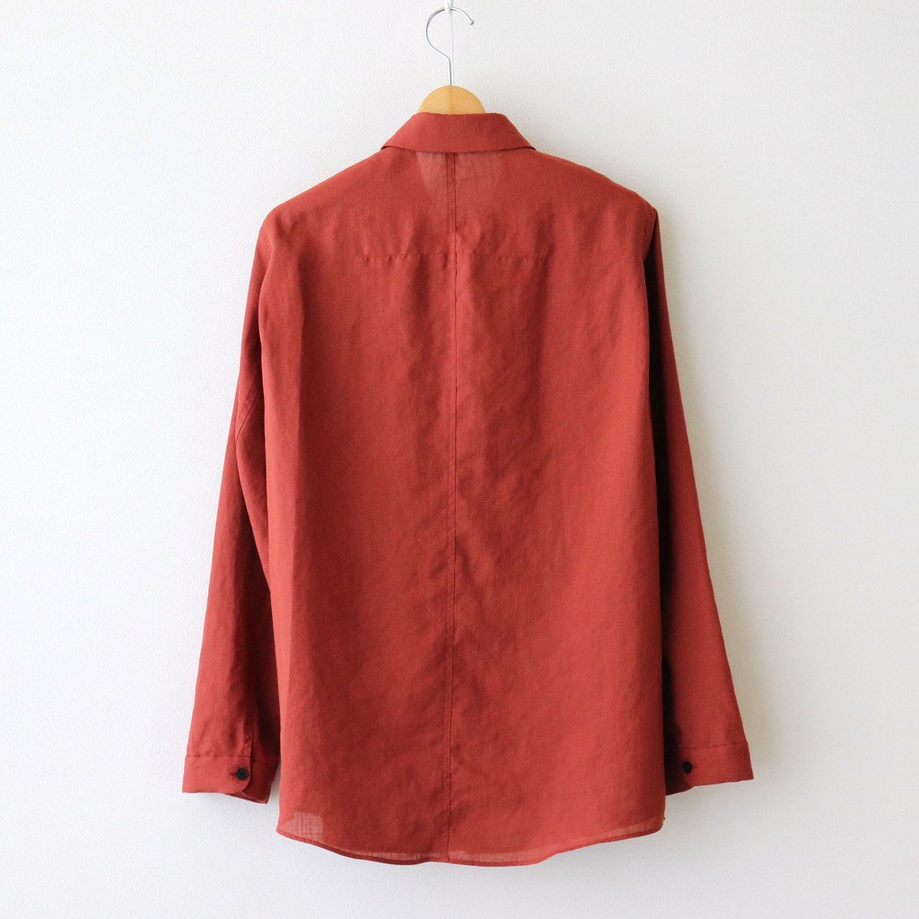 FCVSH | スラブトリアセテート・ガーゼ スモールカラーワイドシャツ #TERRACOTTA [AR_FR011SF]