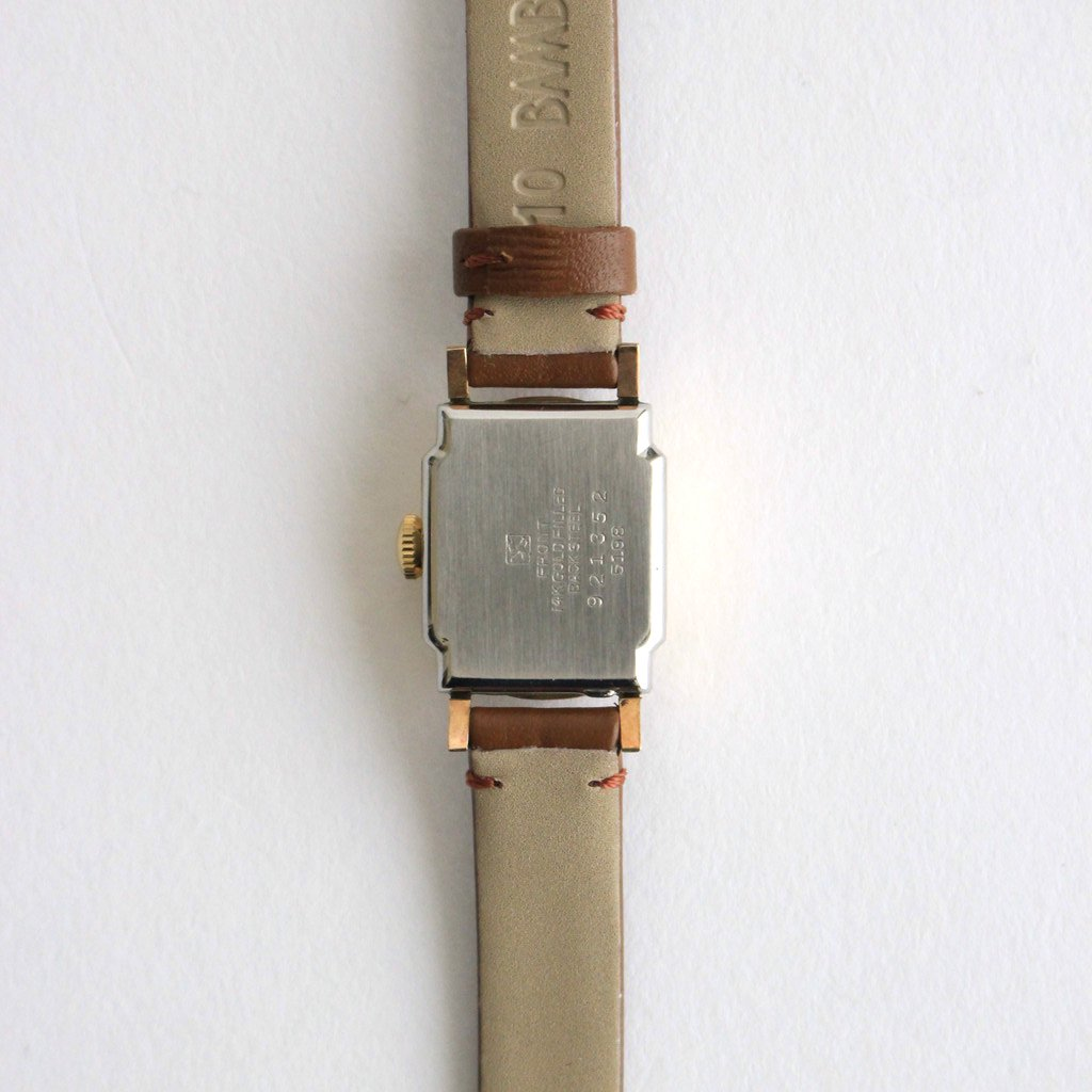 SQUARE FACE REMAKE WATCH #BROWN LEATHER BAND / GOLD DIAL & GOLD CASE [22A-remake-01]