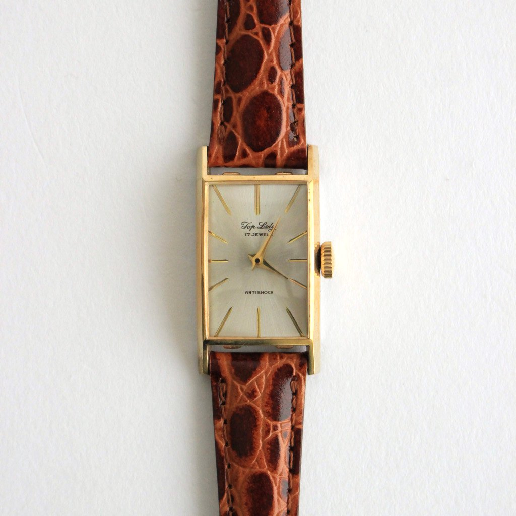 SQUARE FACE REMAKE WATCH #BROWN LEATHER BAND / GOLD DIAL & GOLD CASE [22A-remake-02]