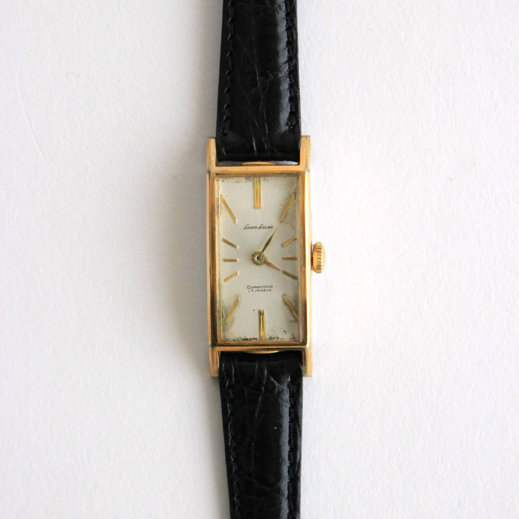 SQUARE FACE REMAKE WATCH #BLACK LEATHER BAND / GOLD DIAL & GOLD CASE [22A-remake-03]