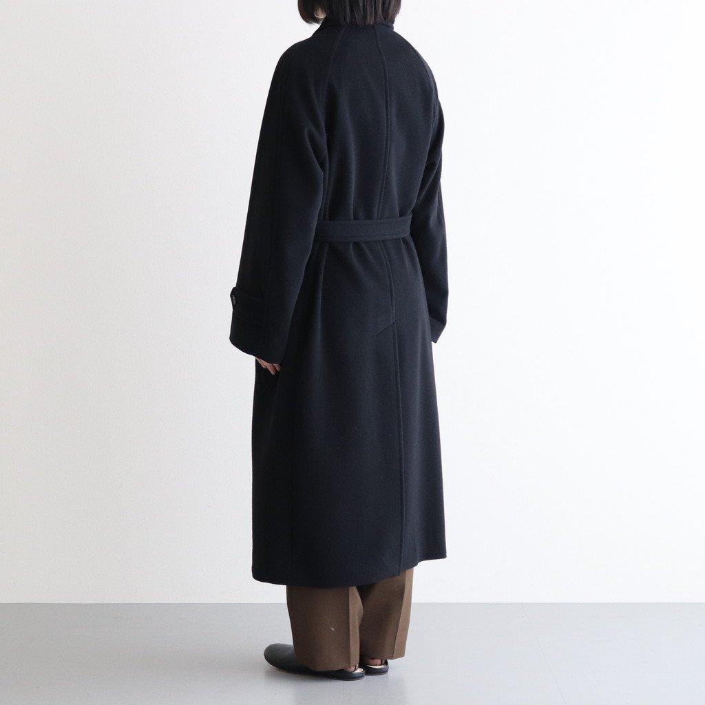 CASHMERE WOOL MOSSER SOUTIEN COLLAR COAT #BLACK [A21AC03MC]