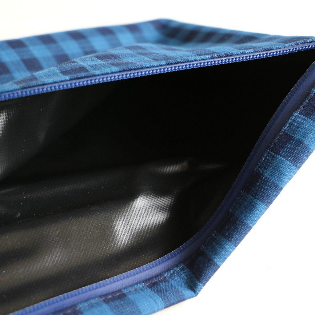 松阪木綿のクラッチバッグ #CHECK A/NAVY ZIP