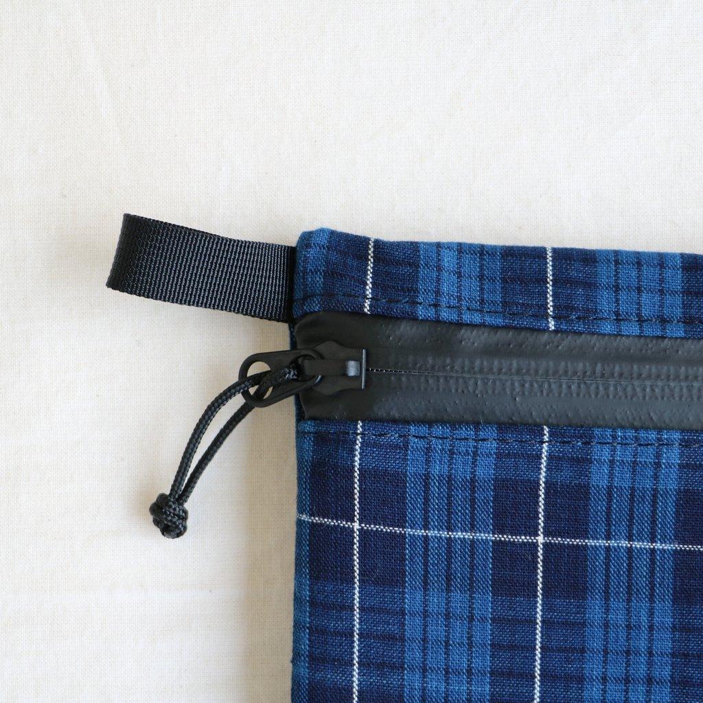 松阪木綿のクラッチバッグ #CHECK B/BLACK ZIP