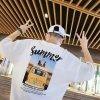五分袖 韓国ストリート summer メンズ バッグプリント  ロゴ Tシャツ ホワイト