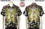 【花旅楽団】紅葉梟柄シルクジャガードアロハシャツ SS-601 ブラック