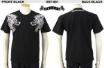 【satori/さとり】双頭狼柄刺繍半袖Tシャツ GST-651 ブラック、ホワイト