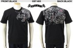 【satori/さとり】桜吹雪龍柄刺繍半袖Tシャツ GST-653 ブラック、ホワイト