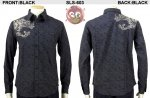【花旅楽団】龍柄流水楓ジャガードシャツ SLS-603 ブラック、グリーン